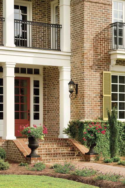 Brick steps southern living house plans and porch steps - Front porch designs for brick homes ...