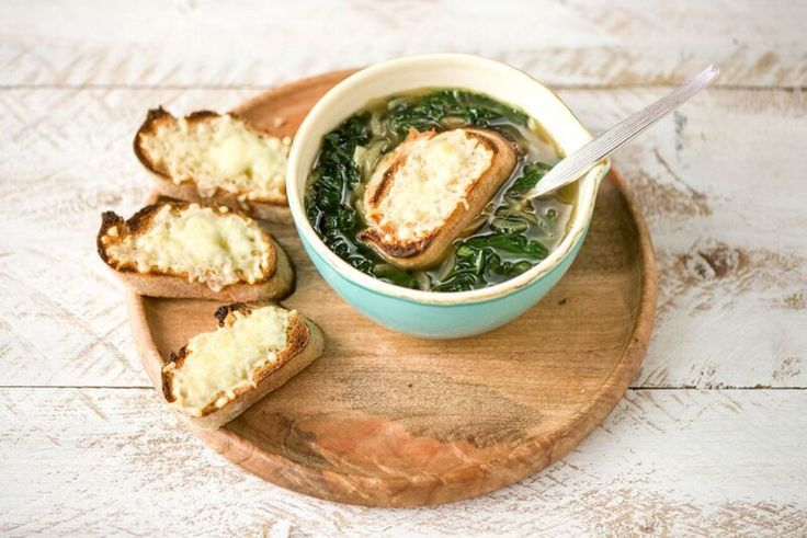Kale soup, French onion and Crouton recipes on Pinterest