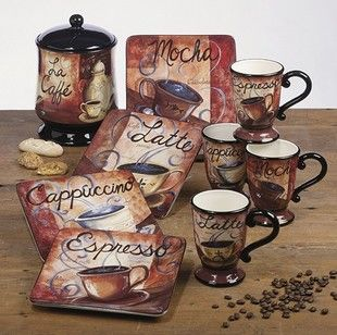 my kitchen has burgundy accents with black appliances and has a coffee theme and this set - Themes For Kitchens Decor