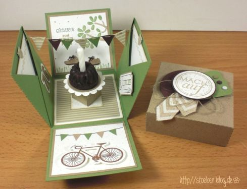 stampin up, birthday, explosion box: