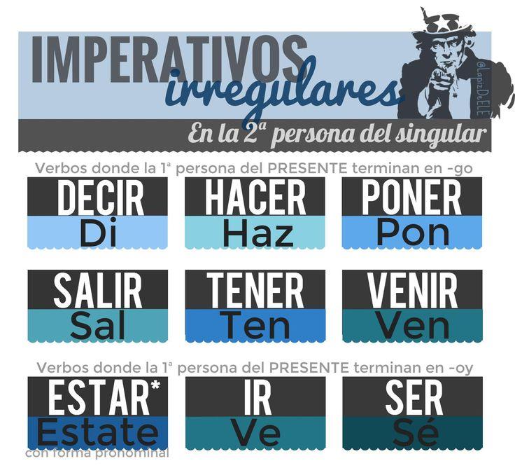 Infografía imperativos Irregulares.  #ELE #Spanish #Español #Infographic Imperativo irregular.
