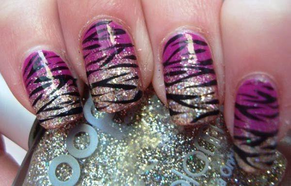 Diseños uñas de cebra, diseño de uñas cebra acrilicas ombre. Clic Follow,  #diseñatusuñas #instanails #uñasbonitas
