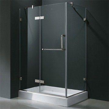 "Vigo Industries Frameless Rectangular Shower Enclosure - 36"" x 48"", Clear | Free Shipping"