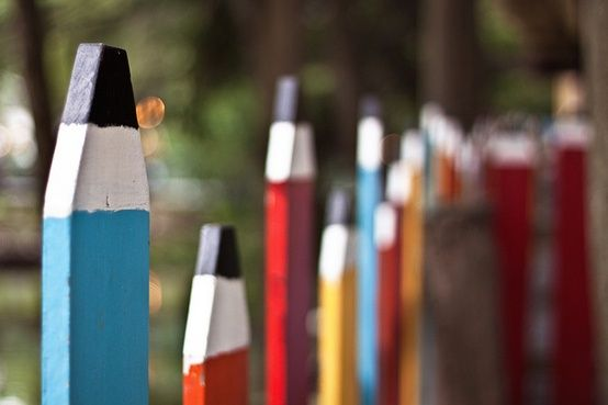 Wouldn't this pencil fence be so cute at a daycare, around a kids play area in a back yard, or even decorating a wall in a kindergarten classroom?