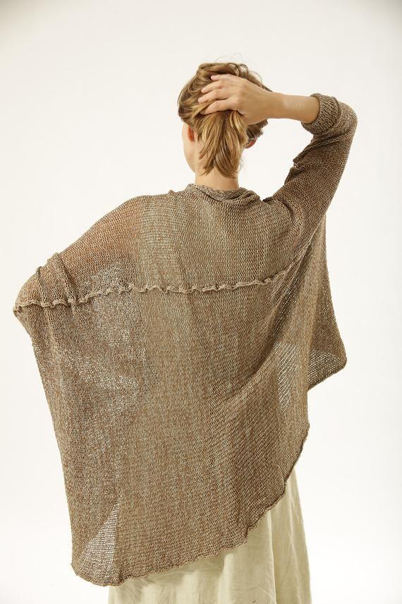 Chunky Oversize Sweater, Brown Knit Cardigan, Plus Size Beige Cardigan 9