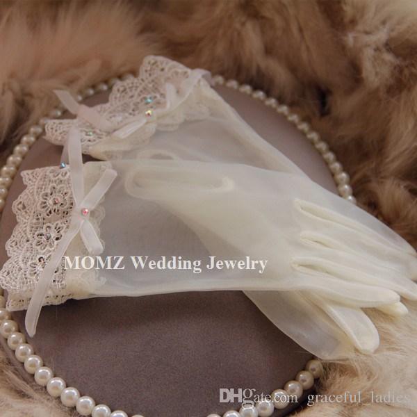 Noivas Vintage Marfim Cintura De Noiva, Luvas Sem Dedos De Luvas De Casamento Bowknot Beading Lace Nupcial Luvas Rhinestone Nupcial Luvas Acessórios Para Noivas