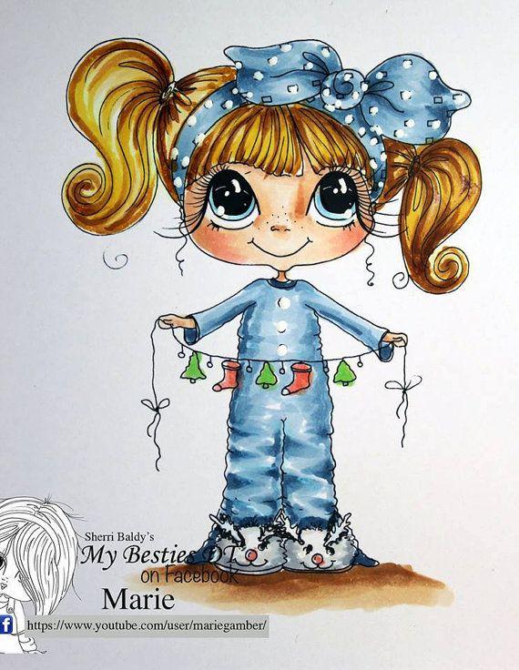 INSTANT DOWNLOAD Digital Digi Stamps Big Eye Big Head Dolls NEW Besties IMG719 My Besties By Sherri Baldy