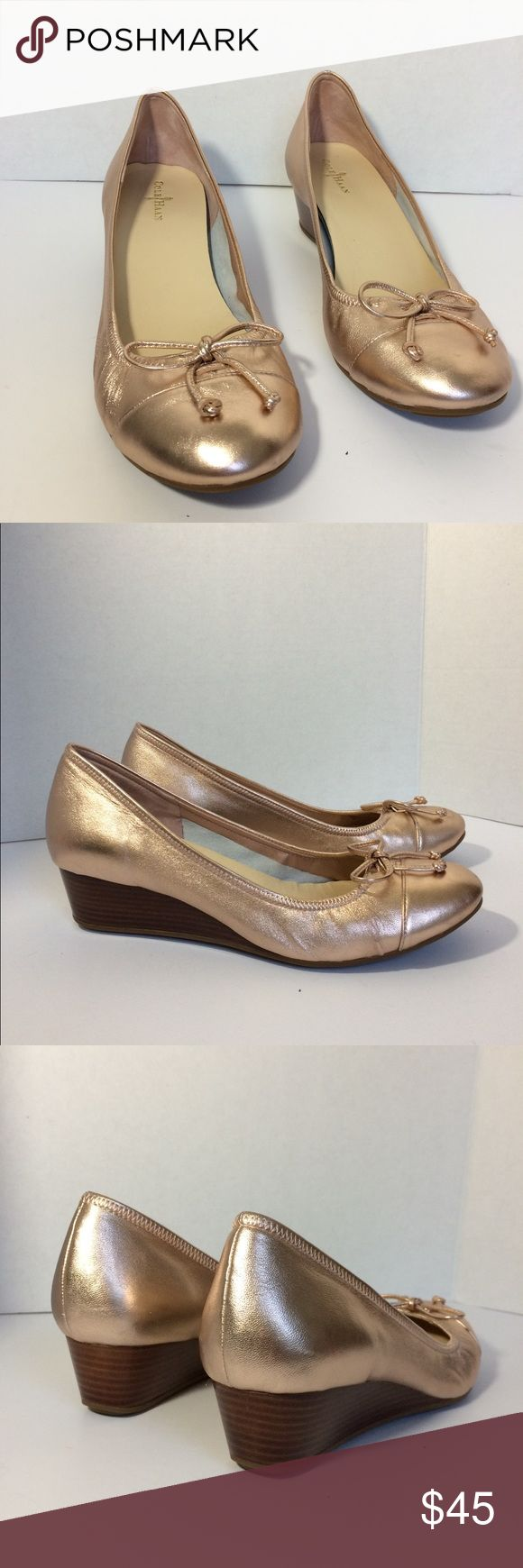 Cole Haan Wedges Style: Air Tali. Color: Rose Gold. Size: 9B. Capped Toe with Bow Accent. Material: Leather. Cushioned with Nike Air Technology. Gently Used. Cole Haan Shoes Wedges
