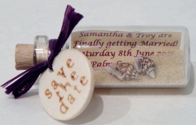 Purple SAVE THE DATE Magnets mini message bottle by WeddingsAway, $23.00