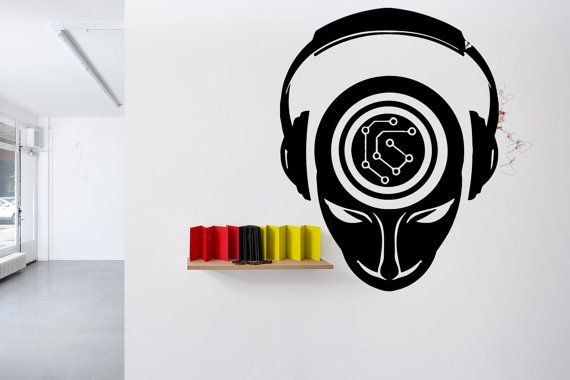 Removable Vinyl Sticker Mural Decal Wall Decor Poster Showcase Electronic Dance Music EDM Trance DJ Cool Headphones Love Sound Stereo F1947