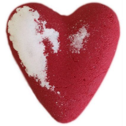 Romantic bath fizz bath bomb. Size: H: 8 cm; W: 7.5 cm D:2 cm; Weight: 70 g; Hand Made in UK. Individually shrink wrapped.