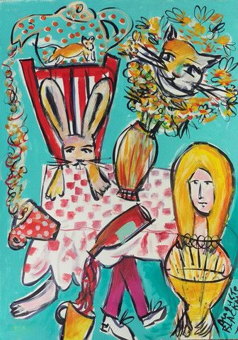 'A La Tabla' by Auguste Blackman - one of his fine acrylic on paper works. His collection 'Curiouser and Curiouser' is full of these wonderful little gems. #australianart #augusteblackman #blackman #artist #aliceinwonderland #acrylic