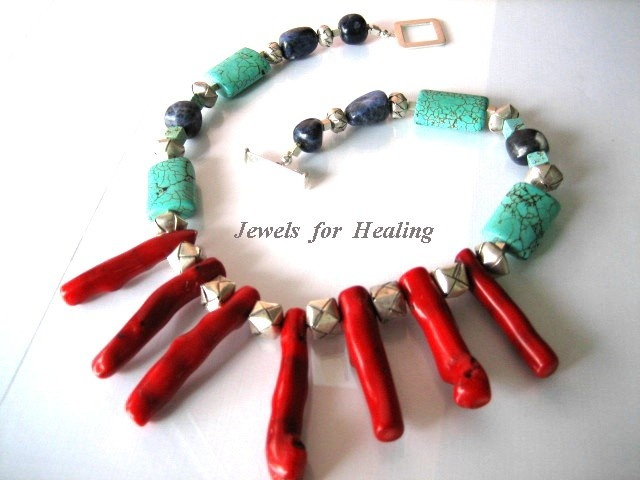 20% Off Spring Sale Necklace- Coral sticks - Turquise beads- Sodalite nuggetz - Sterling silver. $76.00, via Etsy.
