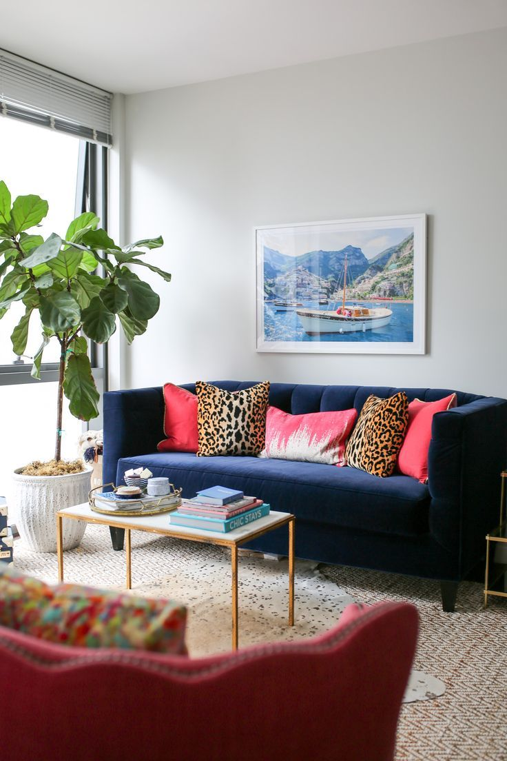 Bows Sequins Chicago Living Room Decor With A Navy Blue Velvet Couch Gray Malin