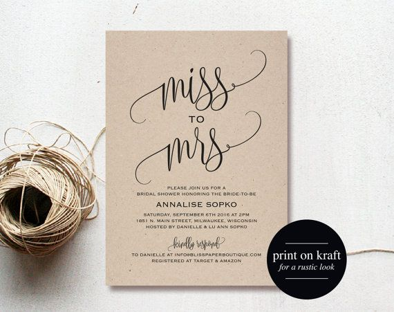 Purchase this listing to instantly download, edit and print your own Miss To Mrs Bridal Shower Invitations! Download your high resolution 5x7