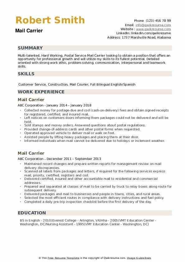 Best Of Letter Carrier Job Description Resume And Pics Di 2020