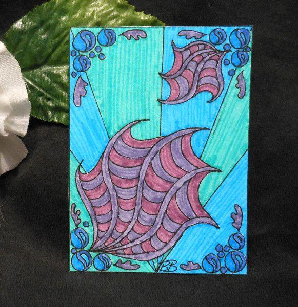 ACEO Ocean Deep Zen Tangle Art Card by Briana Blair - BrianaDragon Creations