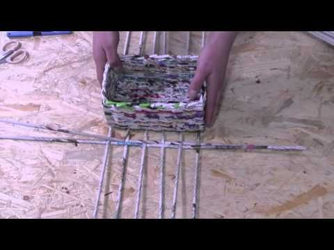 ▶ Papierowa wiklina krok po kroku - jak zrobić prostokątne dno - YouTube