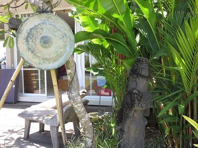 The gong show, aka, our side porch in Jimbaran, Bali. Rent-free living in paradise.