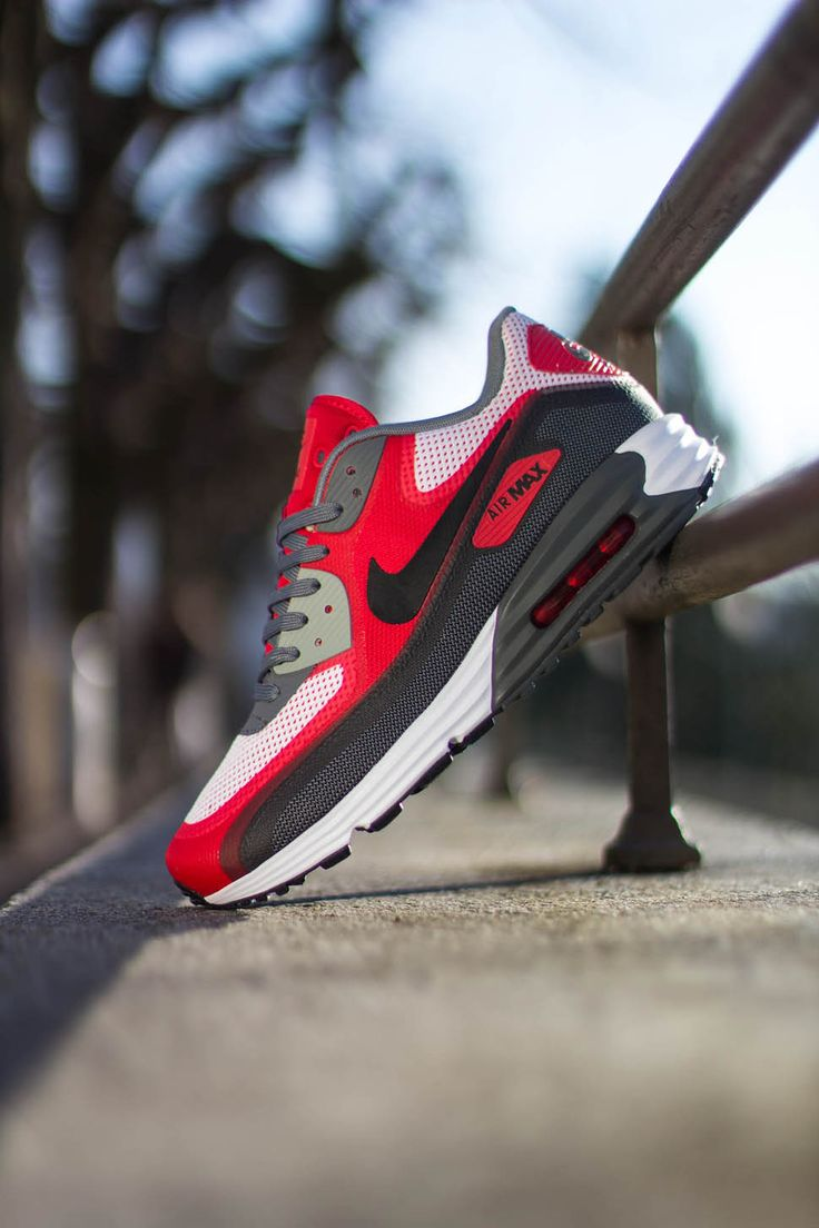 Nike Air Max 90 Fashion Black Silver Red Mens Running Trainers Shoes