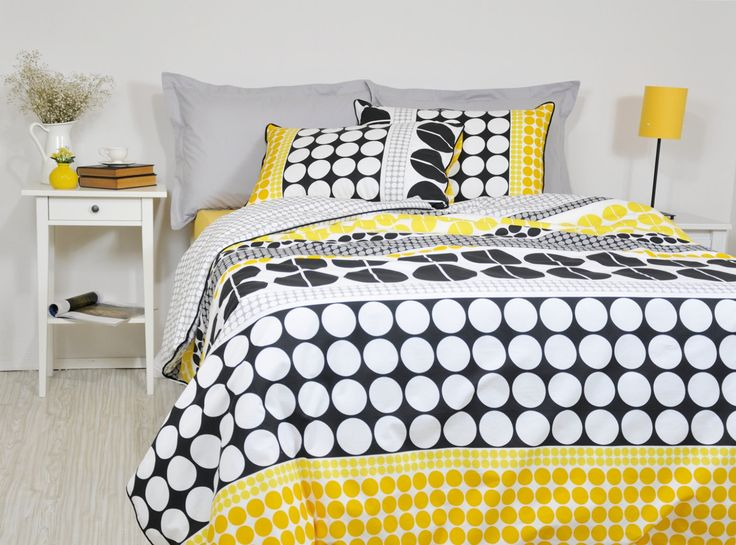 Geometric Bedding Set in Full Queen King Cal King, Black Yellow Grey Big Polka Dot Print Bedding, 6 pcs, Duvet Cover Pillowcases Shams Sheet by RoseHomeDecor on Etsy
