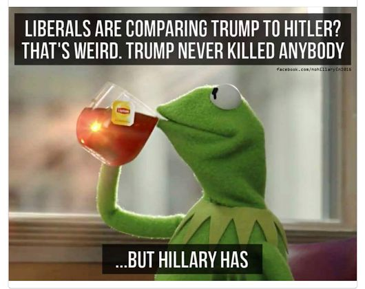 Trump never killed anyone, but Killary has!!!!!...thats because he hasnt had a chance too...he will