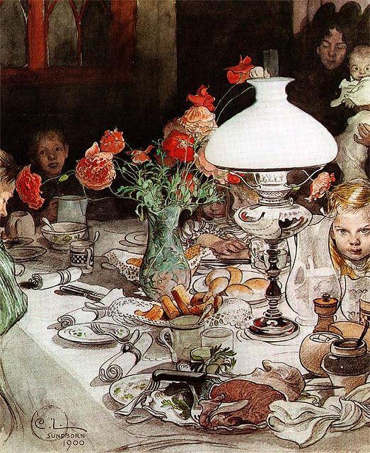Carl Larsson, Around The Lamp, 1900