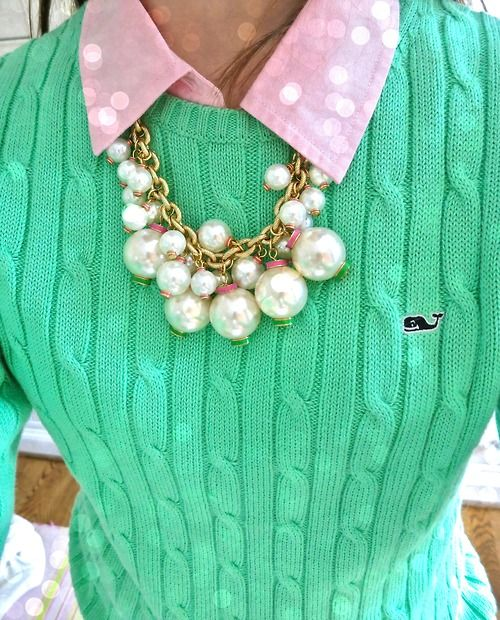 vineyard vines + Lilly Pulitzer necklace sweater over oxford! I have all of this! Yay!
