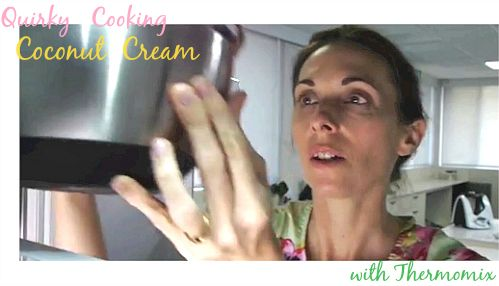 How to make thick Quirky Cooking coconut cream from scratch using Thermomix. Professional cook-along video from Australian food blogger Jo Whitton.