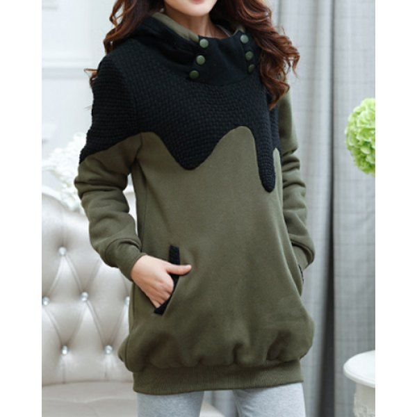 $32.22 Stylish Hooded Long Sleeve Spliced Maternity Women's Hoodie