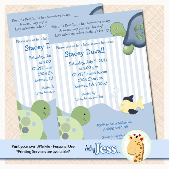Turtle Reef Baby Shower Invitations. We create, you print out. This is a cute design featuring a tortoise and a sea turtle with a trendy stripe and pretty blue color scheme.: Tortoise, Turtle Reef, Blue Color, Reef Baby, Turtle Baby, Baby Shower