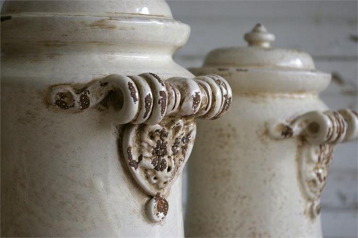 Beautiful tuscan antico bianco canister set for Italian kitchen set