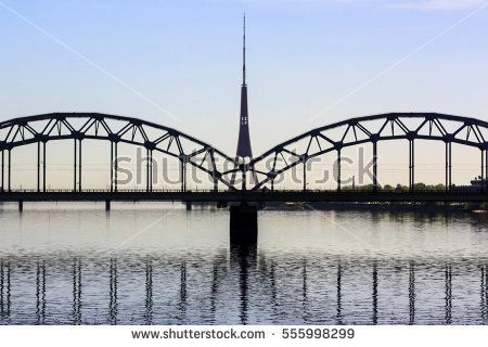 Steel bridge and television tower in Riga, Latvia. Travel. Europe.