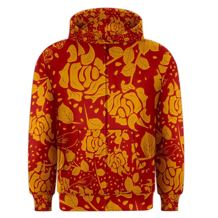 Floral+Wallpaper+Hot+Red+Men's+Zipper+Hoodies