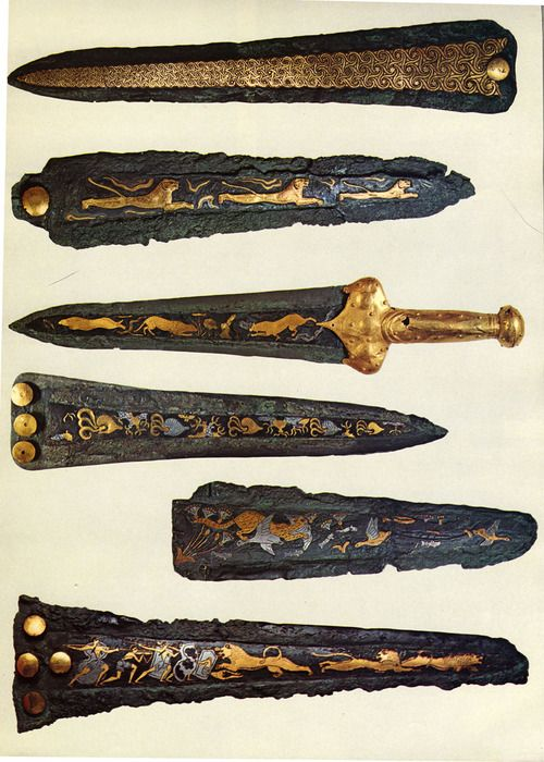 Mycenaean daggers, made of silver and gold