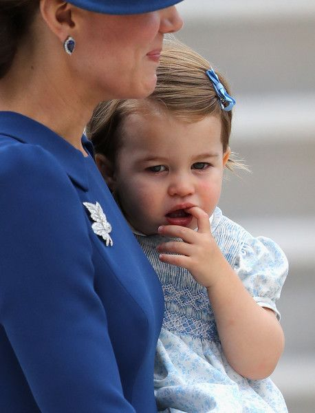 Catherine, Duchess of Cambridge and Princess Charlotte of Cambridge arrive at the Victoria Airport on September 24, 2016 in Victoria, Canada. Prince William, Duke of Cambridge, Catherine, Duchess of Cambridge, Prince George and Princess Charlotte are visiting Canada as part of an eight day visit to the country taking in areas such as Bella Bella, Whitehorse and Kelowna