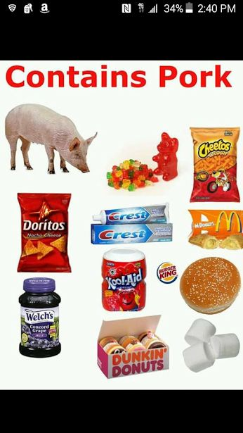 HEADS UP LEVITICAL DIETARY LAW KEEPERS - Don't Eat or use...these products contain pork and are therefore against the Most High Dietary Law