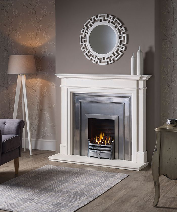 Kensington Mantel In Agean Limestone With A Capital Classic Steel Polished  Fascia And Back Plate And Decorative Open Fronted Gas Fire