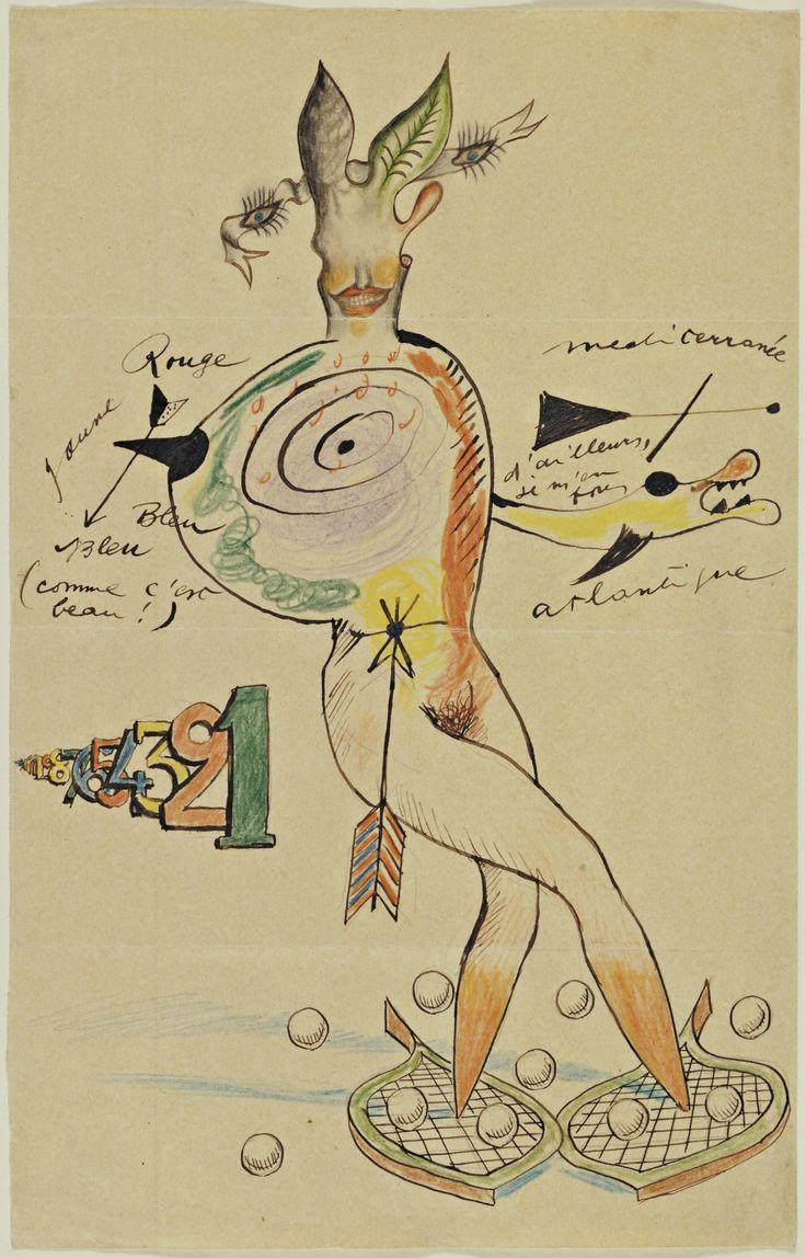 Cadavre Exquis, Yves Tanguy, Joan Miró, Max Morise, Man Ray (Emmanuel Radnitzky). Nude. (1926-27)