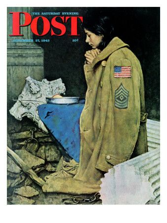 """""""Refugee Thanksgiving"""" Saturday Evening Post Cover, November 27,1943  Norman Rockwell"""