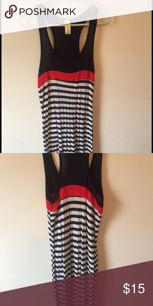 Nautical Maxi dress Super cute striped red white and blue maxi dress. Size not listed on tag but I am a size 4-6 in dresses and this fits great. Super comfy for summer! lily blue beach Dresses Maxi