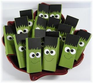 frankenstein candy craft idea -- wrap candy bar, punch eyes, free hand hair