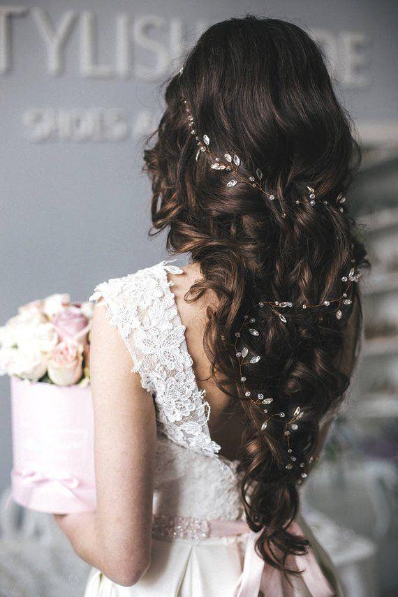 Bridal Boho 2019 Extra Long Crystal Hair Vine 0.5-1.5 meters, Hair Crystal Vine, Long Hair Accessories, Crystal Long Vine, Bridal Hairpiece
