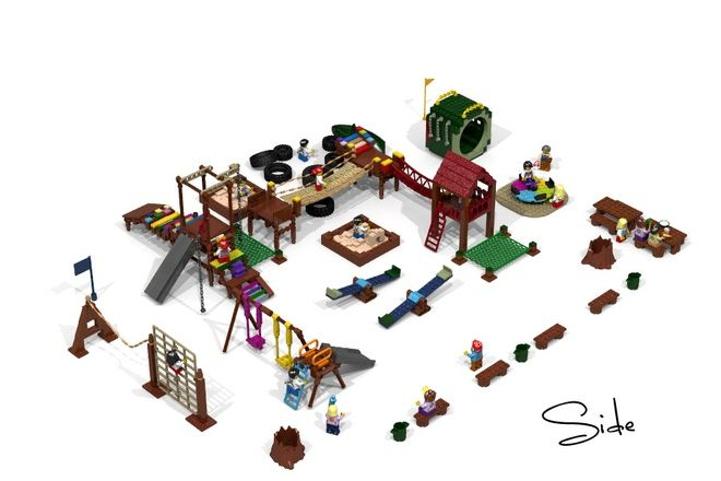 Hello again, today I show you my next Lego Idea: Lego Playground for Families and Kids. The Playground would contain: Swing Monkeybars Slides Rotarytable Tunnel Ropebridges Sa...