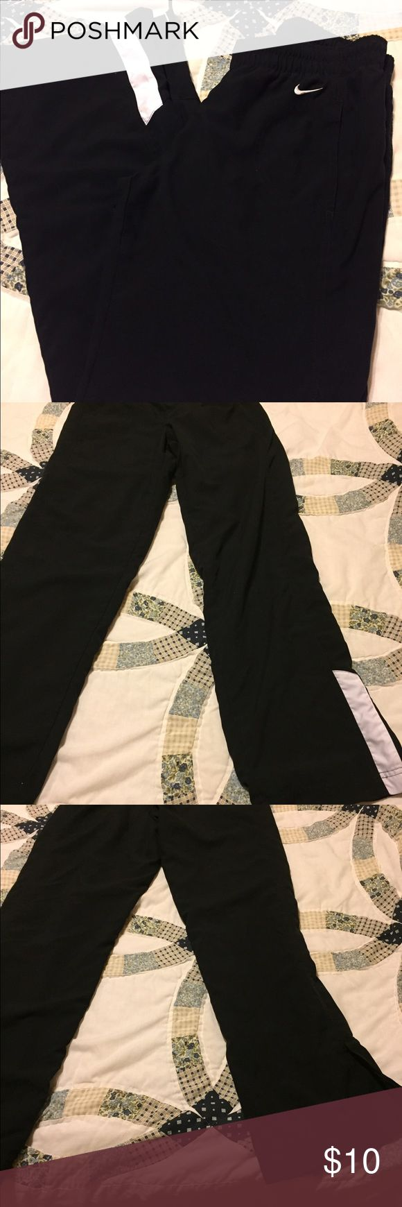 Women's Nike sweat pants, size S, excellent cond Women's Nike sweat pants, size S, excellent condition, black with white stripe near ankle, really soft on outside and mesh lining on inside, 100% polyester. Super comfy! Nike Pants Track Pants & Joggers