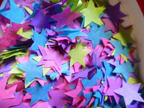 Does your wedding have a colour scheme?  Custom star confetti - made with bio-degradable tissue Paper Street Dolls