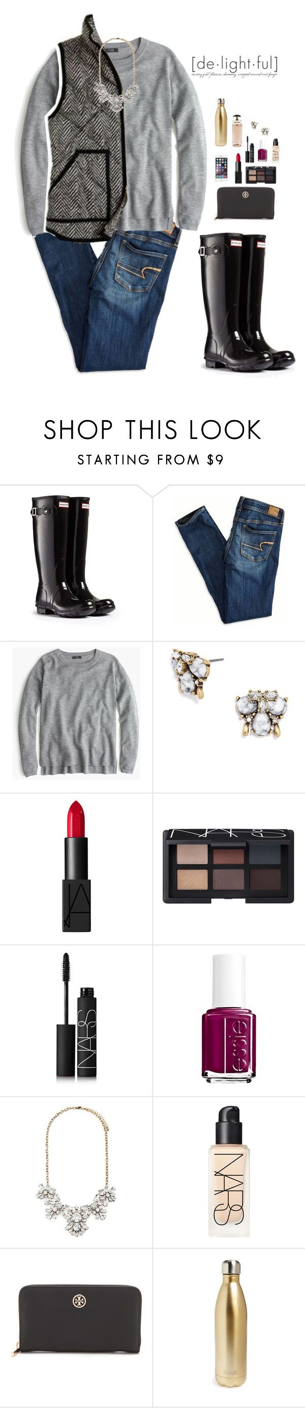 """H is for... hunters"" by emiliaa06 ❤ liked on Polyvore featuring Hunter, American Eagle Outfitters, J.Crew, BaubleBar, NARS Cosmetics, Essie, Forever 21, Tory Burch, S'well and Prada"