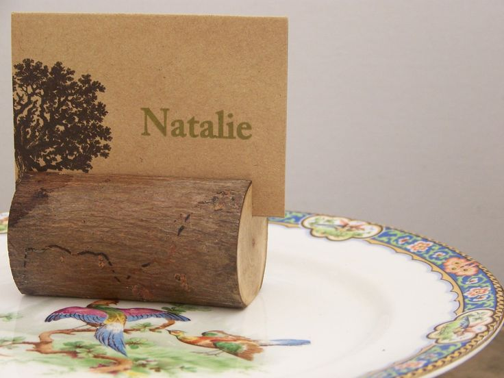 rustic woodland log place card holders set of by