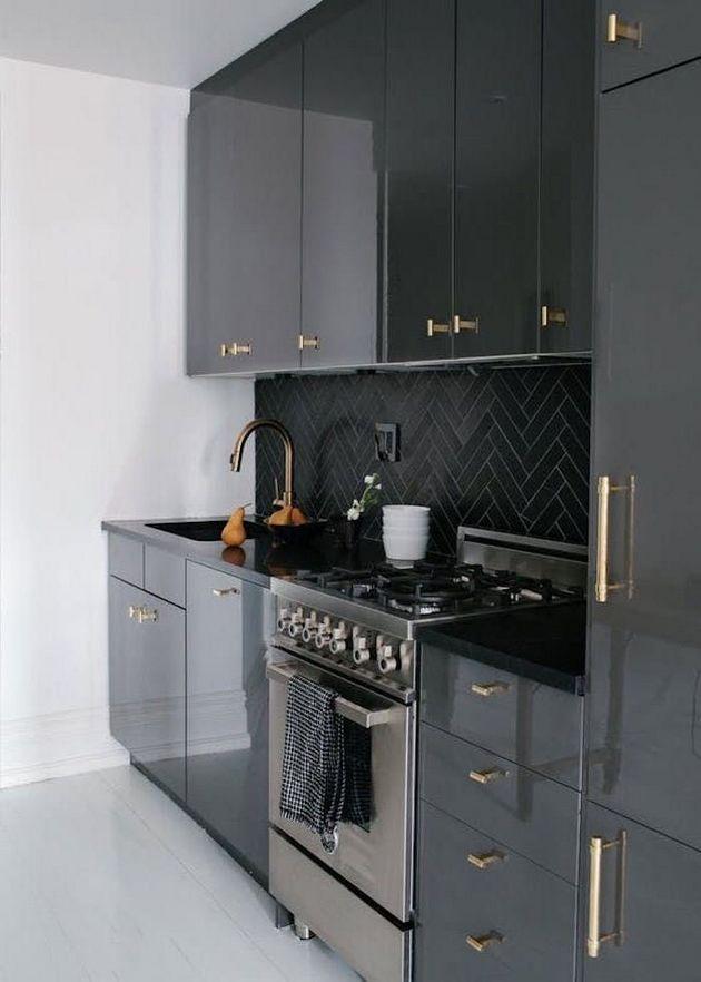 1 Way To Boost Your Kitchen Design Is To Put In A Kitchen Island You Ll Also Have To Balance Purple Kitchen Design Black Kitchen Cabinets Grey Kitchen Designs