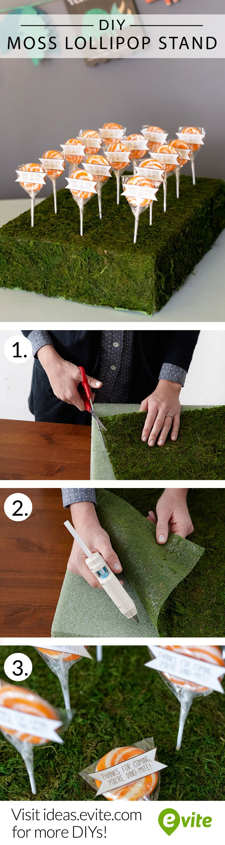 #DIY moss lollipop stand